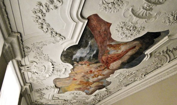 Historical ceiling fresco and stucco