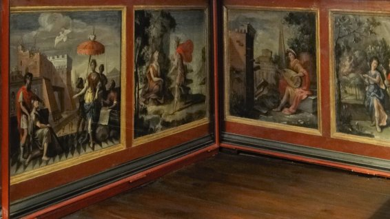 Historical wall panel paintings