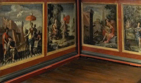 Historical wall panel paintings of metamorphosis of Ovid