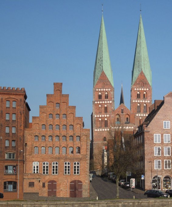 Lübeck old town, brick building and church
